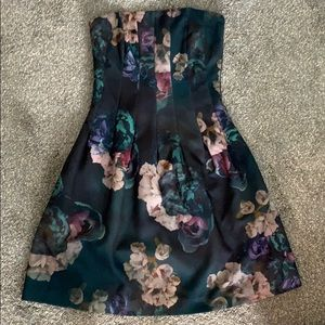 H&M floral strapless cocktail dress